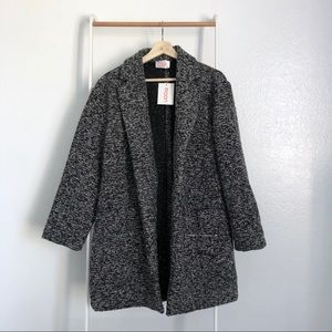 NWT Nasty Gal Charcoal Oversized Wool Knit Coat